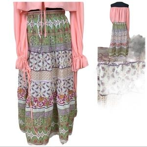 Vintage Uniti Casual Tiered Floral Long Boho Skirt